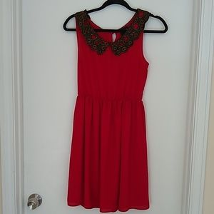 3/$15 Audrey red sleeveless dress with lace collar